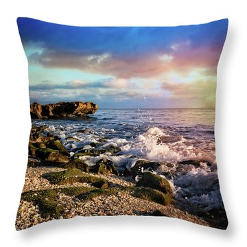 Throw Pillow featuring the photograph Crashing Waves At Low Tide by Debra and Dave Vanderlaan