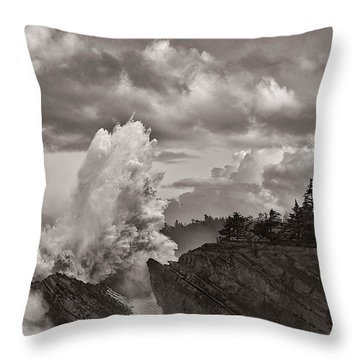 Crashing Waves At Shore Acres Throw Pillow by Patricia Davidson