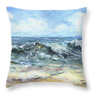 Crashing Waves In Florida  Throw Pillow