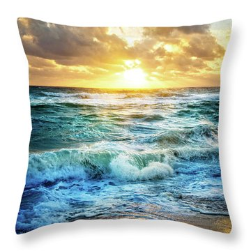 Throw Pillow featuring the photograph Crashing Waves Into Shore by Debra and Dave Vanderlaan