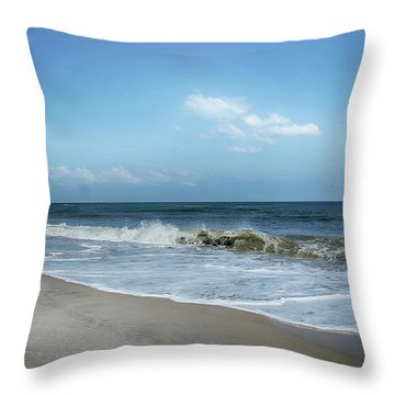 Crashing Waves Throw Pillow by Judy Hall-Folde