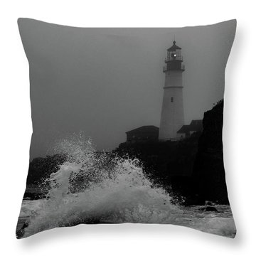Crashing Waves On A Foggy Morning Throw Pillow