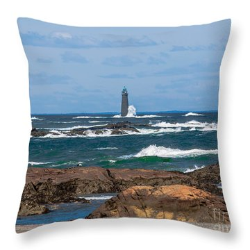 Crashing Waves On Minot Lighthouse  Throw Pillow