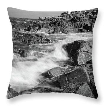 Crashing Waves, Portland Head Light, Cape Elizabeth, Maine  -5605 Throw Pillow