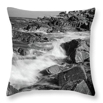 Throw Pillow featuring the photograph Crashing Waves, Portland Head Light, Cape Elizabeth, Maine  -5605 by John Bald