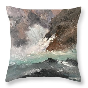 Crashing Waves Seascape Art Throw Pillow