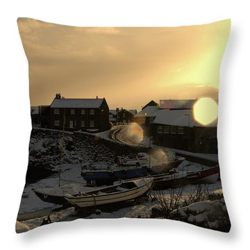 Craster Harbour In Winter 2 Throw Pillow