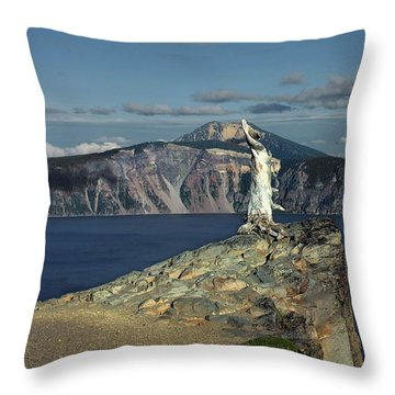 Crater Lake - A Most Sacred Place Among The Indians Of Southern Oregon Throw Pillow by Christine Till