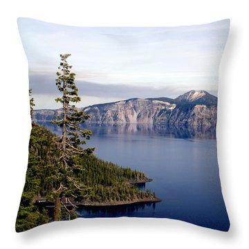 Crater Lake 3 Throw Pillow by Marty Koch