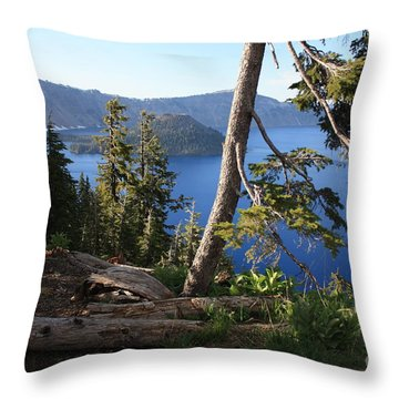 Crater Lake 9 Throw Pillow by Carol Groenen