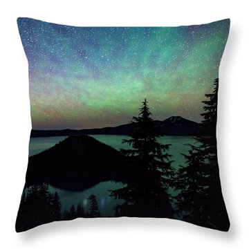 Throw Pillow featuring the photograph Crater Lake Airglow by Cat Connor