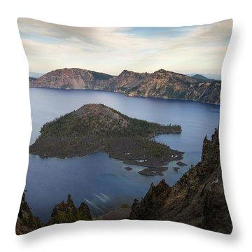 Crater Lake At Sunset Throw Pillow