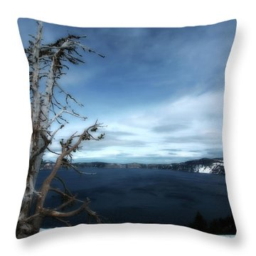 Crater Lake Throw Pillow by Bonnie Bruno