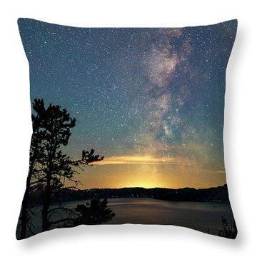 Crater Lake Milky Way Throw Pillow