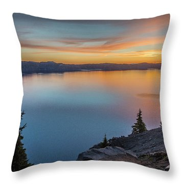 Crater Lake Morning No. 1 Throw Pillow