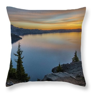 Crater Lake Morning No. 2 Throw Pillow