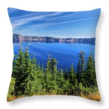 Throw Pillow featuring the photograph Crater Lake Rim Reflections by Frank Wilson