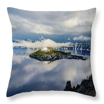 Crater Lake Storm Throw Pillow