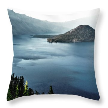Crater Lake Under A Siege Throw Pillow by Eduard Moldoveanu