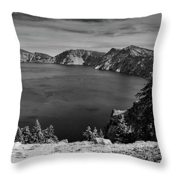 Throw Pillow featuring the photograph Crater Lake View In Bw by Frank Wilson