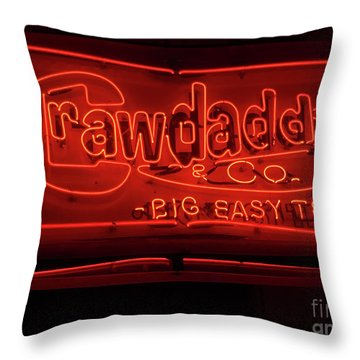 Throw Pillow featuring the photograph Craw Daddy Neon Sign by Steven Spak
