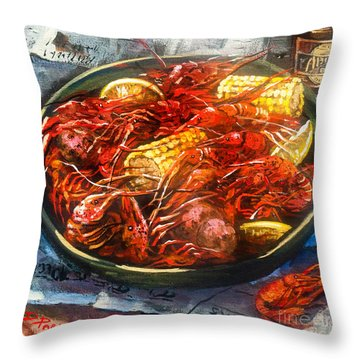 Crawfish Eatin' Time Throw Pillow
