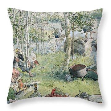 Crayfishing Throw Pillow by Carl Larsson