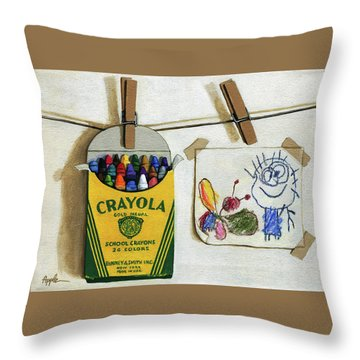 Box Of Crayons And Child's Drawing Realistic Still Life Painting Throw Pillow