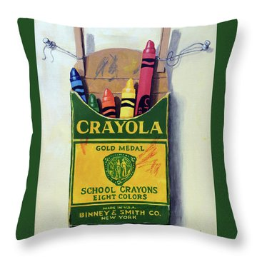 Throw Pillow featuring the painting Crayola Crayons Painting by Linda Apple