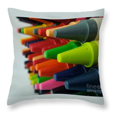Throw Pillow featuring the photograph Crayons by Chad and Stacey Hall