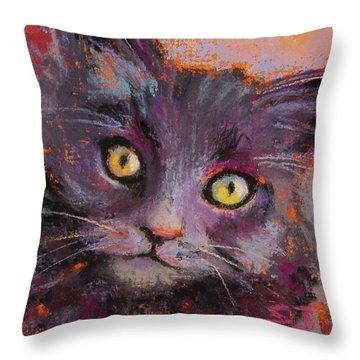 Crazy Cat Black Kitty Throw Pillow