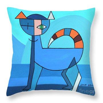 Crazy Cat Throw Pillow by Jutta Maria Pusl