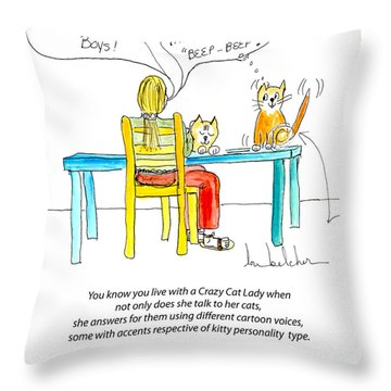 Crazy Cat Lady 0009 Throw Pillow