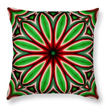 Crazy Christmas Flower Throw Pillow