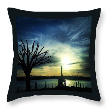 Crazy Clouds Throw Pillow by Lauren Fitzpatrick