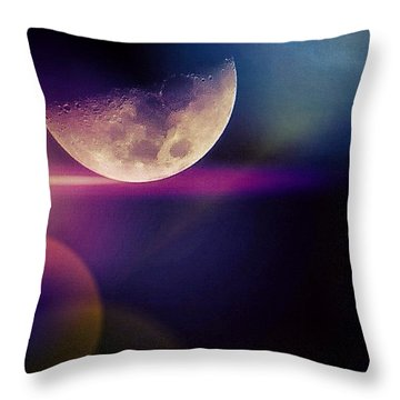 #crazy #colorful #fun #moon And The Throw Pillow