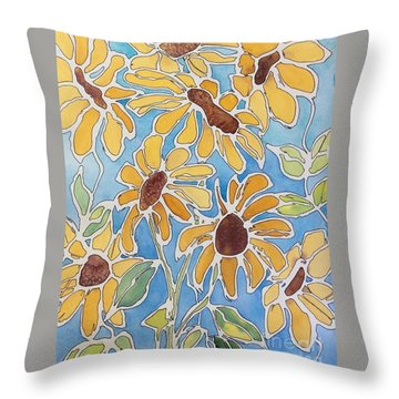 Crazy Daisies Throw Pillow by Barbara Tibbets