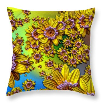 Crazy Daisies Throw Pillow by Nick Kloepping