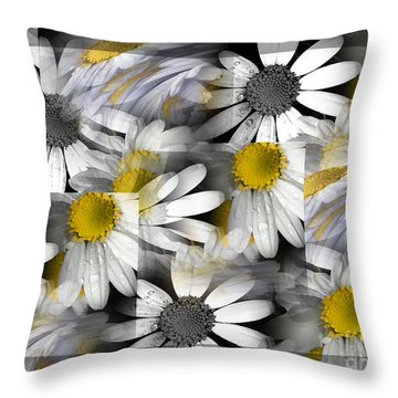 Crazy Daisys Throw Pillow by Karen Lewis