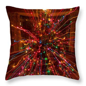 Crazy Fun Christmas Tree Lights Abstract Print Throw Pillow by James BO  Insogna