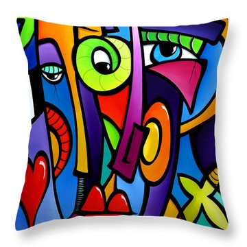 Crazy Hearts Throw Pillow by Tom Fedro - Fidostudio