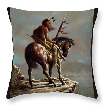 Crazy Horse_digital Study Throw Pillow by Harvie Brown