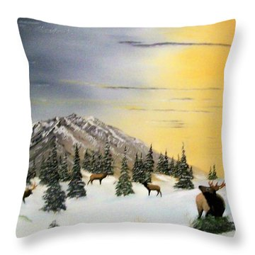 Crazy Mountains Sunset Throw Pillow by Al  Johannessen