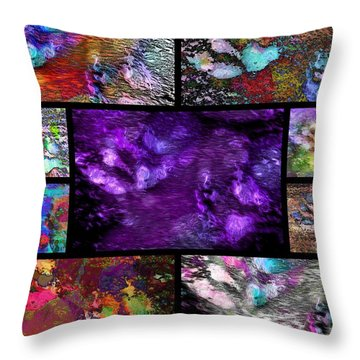 Crazy Paw Print Collage Throw Pillow