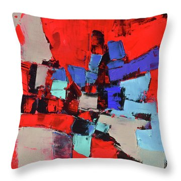 Throw Pillow featuring the painting Crazy Red by Elise Palmigiani