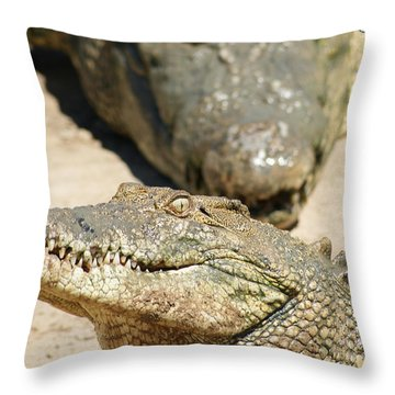 Throw Pillow featuring the photograph Crazy Saltwater Crocodile by Gary Crockett
