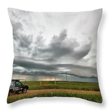 Crazy Shelf Cloud Near Ponteix Sk. Throw Pillow