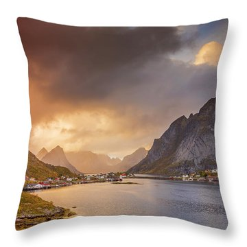 Crazy Sunset In Lofoten Throw Pillow