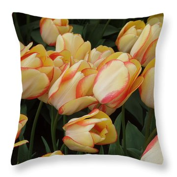 Cream And Red Tulips Throw Pillow by Karen Molenaar Terrell