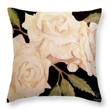 Cream Colored Roses Throw Pillow